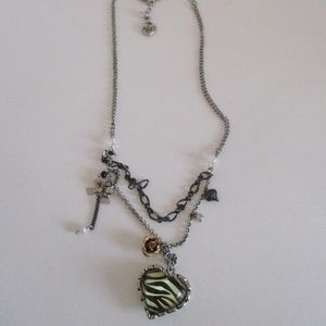 Betsey Johnson Zebra Print Heart Necklace